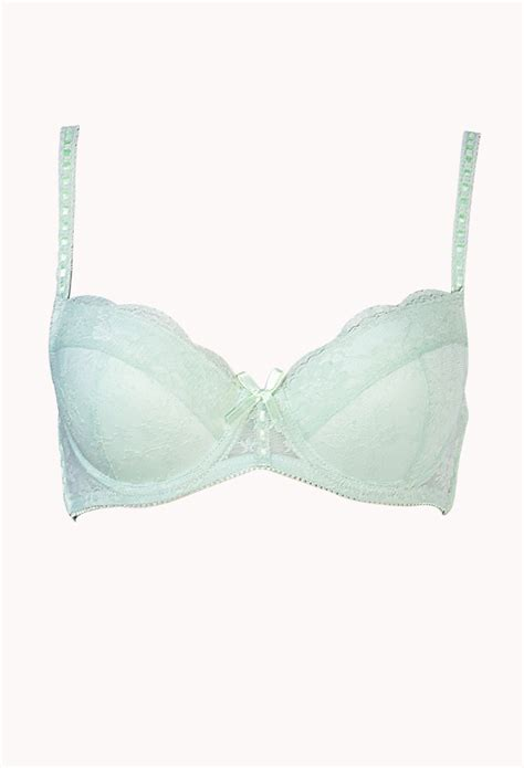 Fashion Push Up Bra Import Green forever 21 moderate lace push up bra in green mint lyst