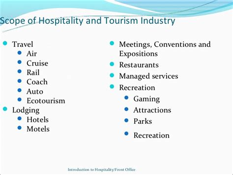 Mba In Tourism And Hospitality Management Scope by Week 1 Introuduction To Hospitality Industry