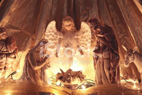 christian christmas nativity scene religious christmas nativity scene with angel stock