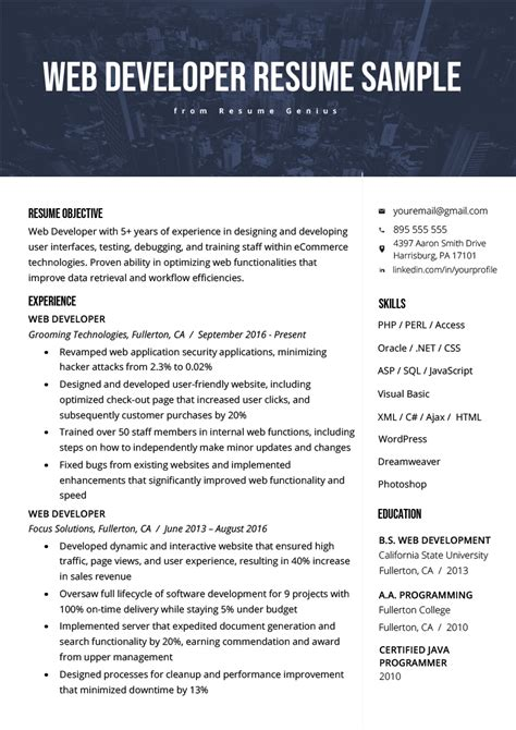 web developer resume sle writing tips rg