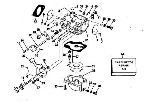 evinrude carburetor parts for 1977 55hp 55773d outboard motor