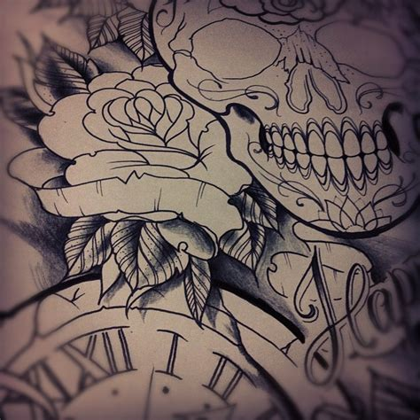 rose and clock tattoo designs design in progress design clock sk