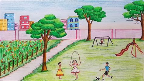 draw scenery  childrens play step  step youtube