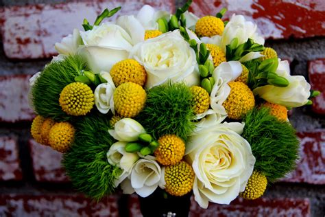 Wedding Bouquet Yellow Green by Sea Of Blossoms Yellow Green And White Wedding Bouquet