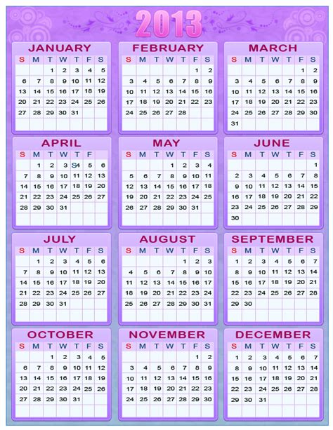 new year printable calendar printable new year 2012 2013 one page calendars