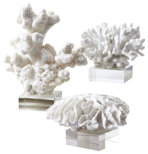 reef white coral sculptures set of 3 beach style