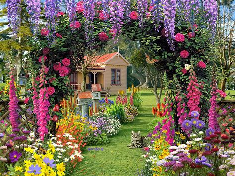 Home Garden Flowers Home Flower Gardens Wallpaper