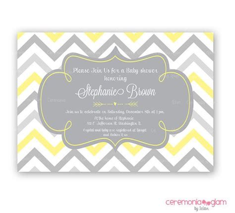 Yellow And Grey Baby Shower Invitations by Printable Baby Shower Invitation Yellow And Grey Chevron