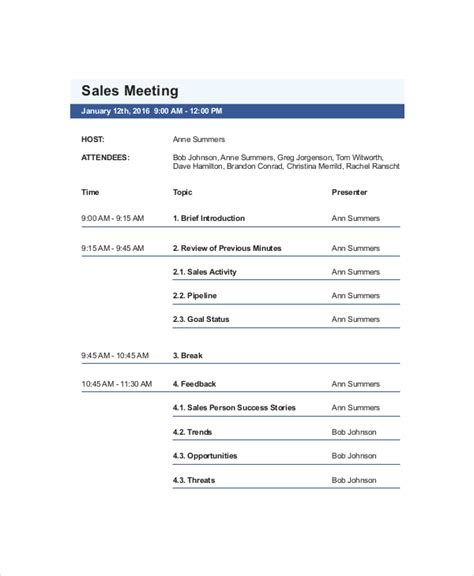 Sle Business Template Pdf Sales Meeting Agenda Template 11 Free Word Pdf