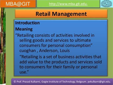 What Is Invovlved In A Mba Program by Retail Management Vtu
