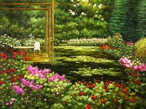 Flower Garden Paintings The Flower Yard Painting Summer Garden Painting Wholesale