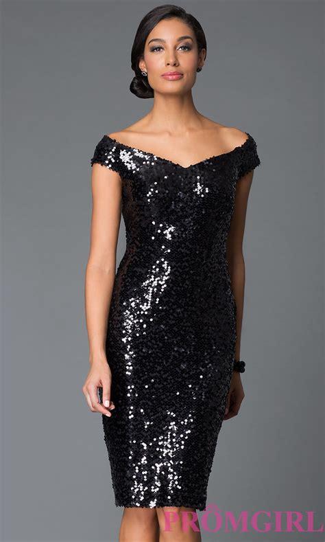 Fashion designs dresses : Sequin Knee Length Off Shoulder Dress by Marina   best   Fashion & Fancy
