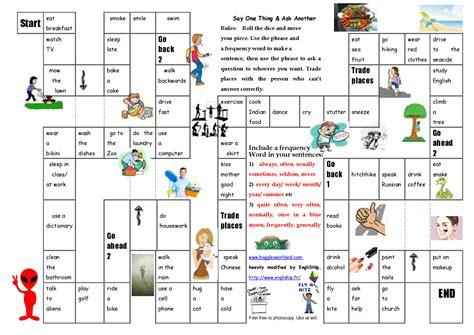 printable board game present simple esl present simple and present continuous board game