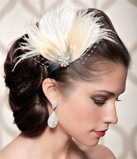Vintage Inspired Wedding Hair Pieces by Ivory Bridal Chagne Peacock Feather