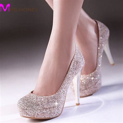 White And Gold Wedding Shoes by Glitter Dress Shoes Stiletto Heel Platforms