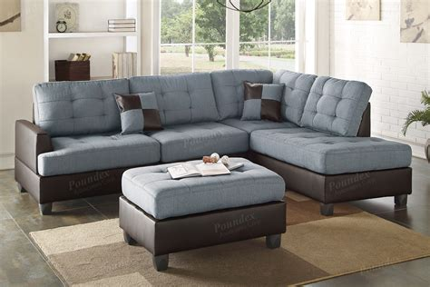grey sectional with ottoman poundex bobkona f6858 grey reversible chaise sectional