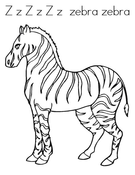 Z Zebra Coloring Page by Free Printable Zebra Coloring Pages For