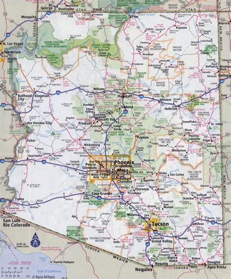 printable arizona road map large detailed road map of arizona state with all cities