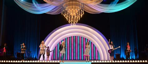chandelier  band shell church stage design ideas