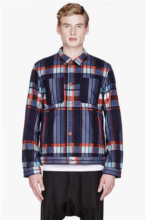 Flannel Topman Kemeja Topman Blue Patch white mountaineering navy and twill flannel plaid