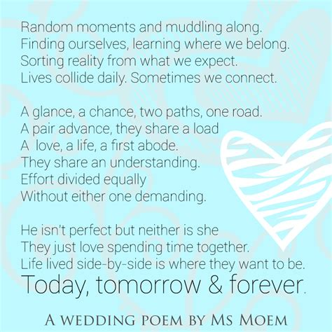 poems for wedding ceremonies wedding poem today tomorrow forever by ms moem