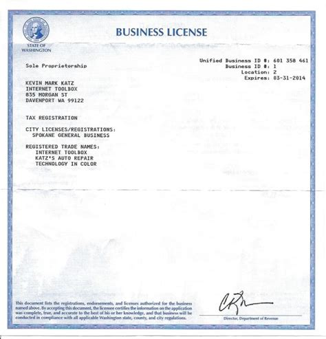 business license template about kevin and the toolbox