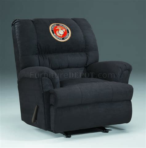 black rocker recliner chair black fabric modern rocker recliner w us marines emblem
