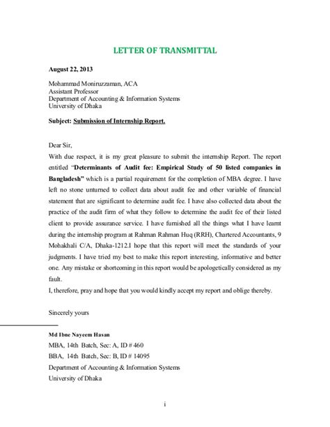 Transmittal Letter Of Audit Report Letter Of Transmittal