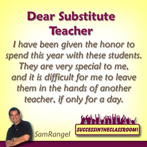 Thank You Letter To Substitute Success In The Classroom Helping Teachers Make A Difference In The Lives Of Their Students