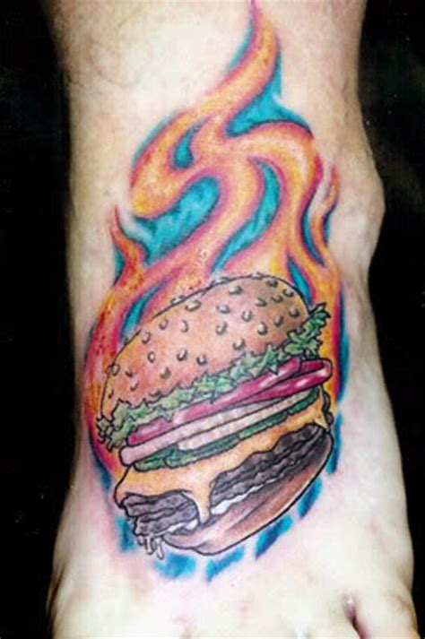 cheeseburger tattoo showcase of the best burger designs sheplanet