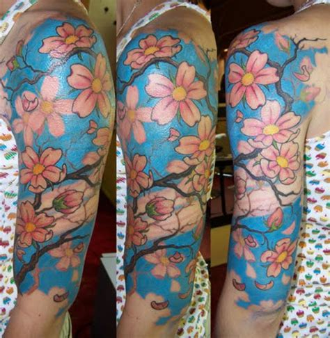 cherry blossom half sleeve tattoo designs ink