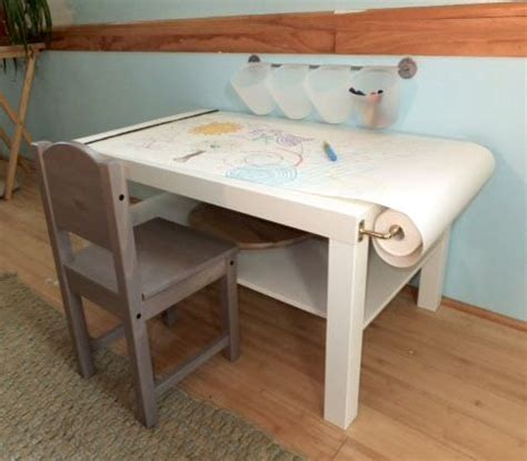 diy toddler desk diy arts craft table for on a budget paper roll wall mounted buckets for supplies