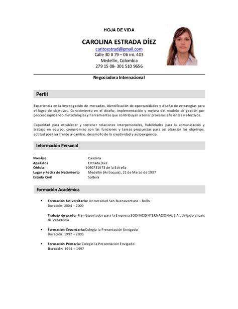Modelo Curriculum Vitae Colombia Formato De Hoja De Vida Ejemplos De Design Bild