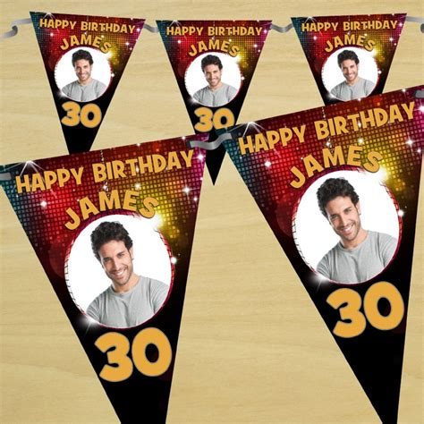 Banner Happy Anniv Banne Anniversary Bunting Flag Happy Anniv personalised happy birthday flag photo bunting banner n41