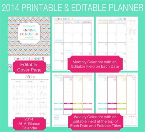 editable printable daily calendar editable 2015 printable full page size daily planner pdf