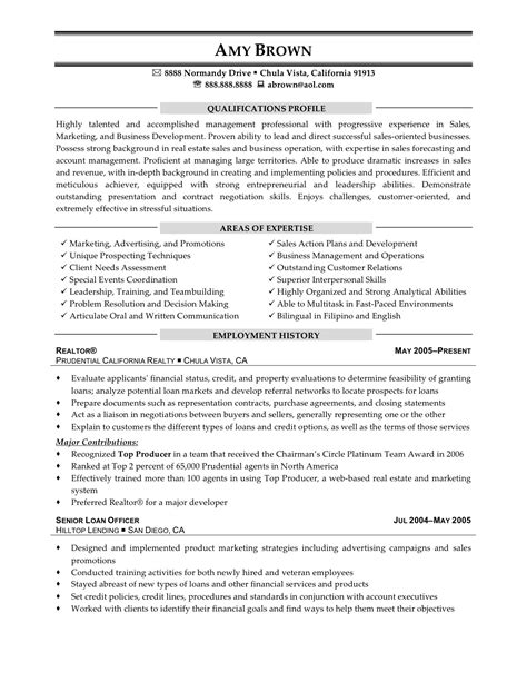 resume sles real estate consultant resume