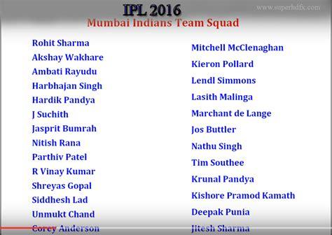 ipl mumbai team players ipl 2016 mumbai indians team players superhdfx
