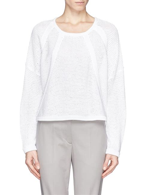 helmut lang knit sweater helmut lang plov cord knit sweater in white lyst