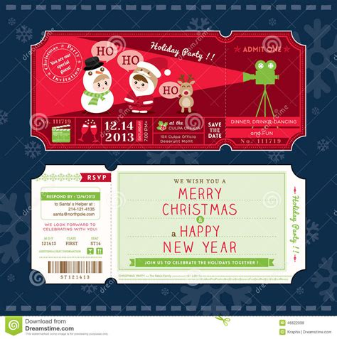 vector christmas party ticket card design template stock