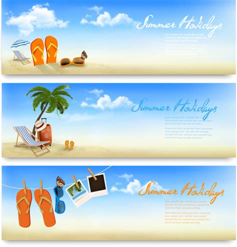 tropical vacation creative banner vector free free download