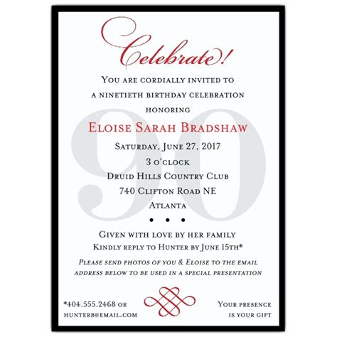 90th Birthday Invites Templates classic 90th birthday invitations paperstyle