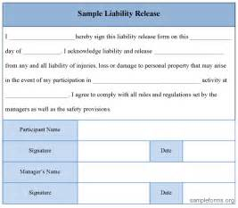 free printable liability release form sample form generic