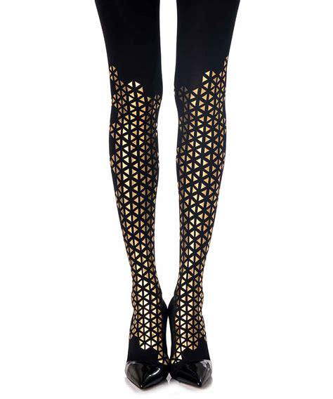 pattern tights black quot beat goes quot patterned tights black gold zohara