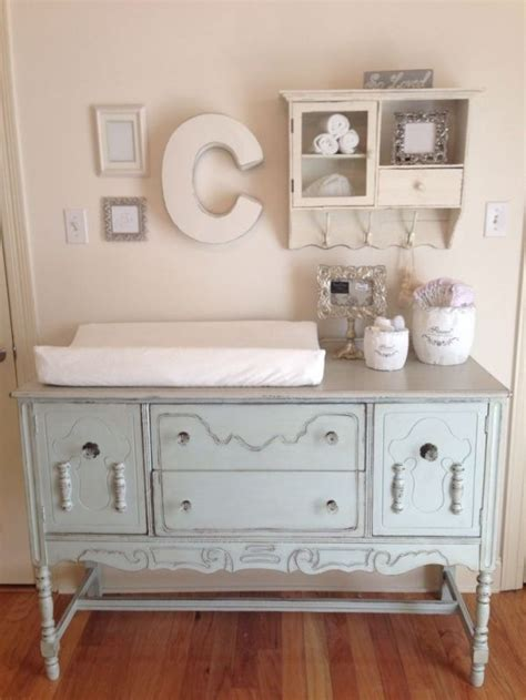 Shabby Chic Nursery Buffet Converted To Changing Table Shabby Chic Changing Table