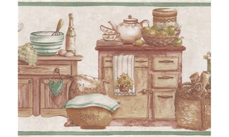 wallpaper borders country style green countrystyle kitchen wallpaper border