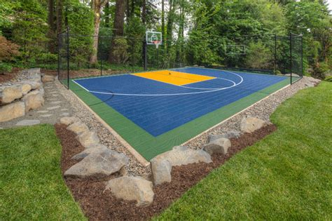 Backyard Ideas Sports Pit Sport Court Oversized Paver Patio Traditional