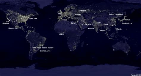 world map city lights world energy map think