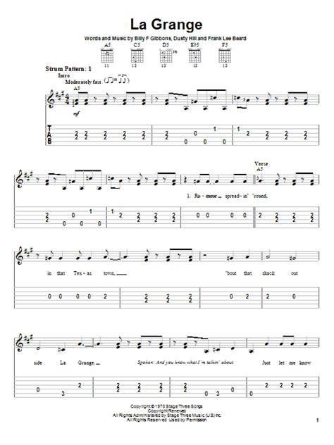 Tablature La Grange by La Grange Sheet By Zz Top Easy Guitar Tab 23176