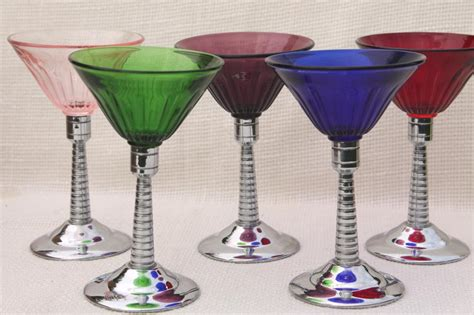 vintage martini glasses vintage martini glasses colored glass chrome cocktail