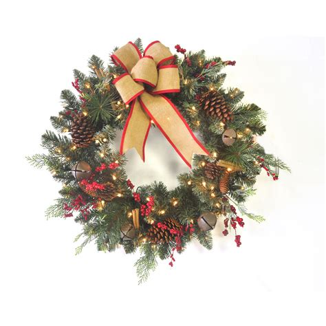 shop holiday living 30 in pre lit scotch pine indoor outdoor artificial christmas wreath with